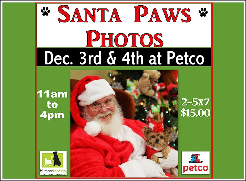 Santa Paws Photos at Petco Dalton GA – Dec. 3rd & 4th, 11am – 4pm